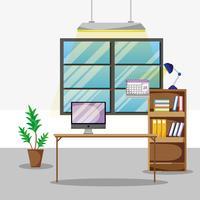 bureau met platte kantooraccessoires om te werken vector