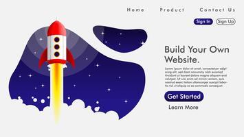 Webdesign en bestemmingspagina met een raket Gratis Vector