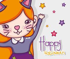 Gelukkige Halloween-kaartbeeldverhalen vector