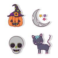 Set van halloween tekenfilms vector