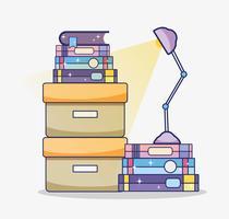 Kasten met boeken vector