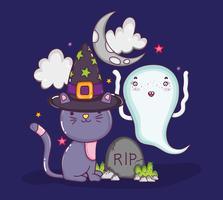 Halloween kat tekenfilms vector