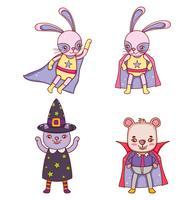 Set van dieren halloween kostuum vector