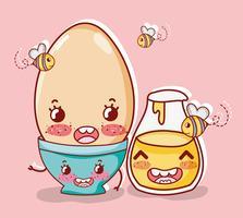 Zoet ontbijt kawaii schattige tekenfilms vector