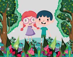 Leuke kinderen in het bos