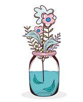 Boeketbloemen in metselaarkruik vector
