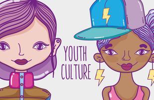 Cartoon van de duizendjarige vrouwen van de jeugdcultuur