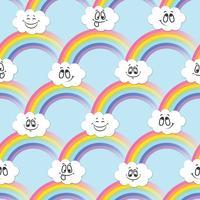 Regenboog, witte wolken van emoticons. Een naadloos patroon voor uw ideeën.