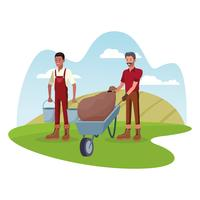 Boeren werken in boerderij tekenfilms