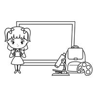 schattig student meisje met bord en levert school vector