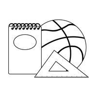 driehoek regel met benodigdheden school