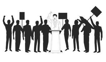 man die een silhouet van toespraak en publiek maakt vector