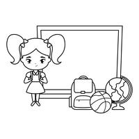 schattig klein student meisje met bord en levert school
