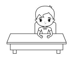 student jongen zitten op school bureau vector