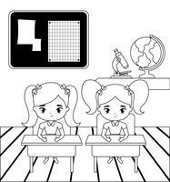 kleine student meisjes in de klas scène vector