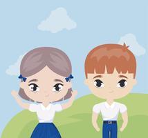 schattige kleine studenten in landschapsscène
