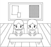 kleine studenten in de klas scène vector