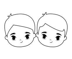 hoofden van schattige kleine kinderen avatar karakter vector