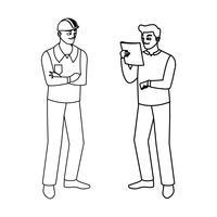 mannelijke bouwers constructeurs werknemers personages