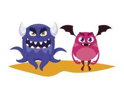 grappige monsters koppelen kleurrijke stripfiguren