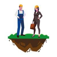 mannelijke bouwer constructor met vrouw ingenieur