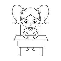 kleine student meisje zit op school bureau