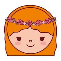 cartoon vrouw gezicht pictogram
