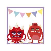vierkant frame met grappige monsters en slingers opknoping
