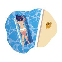 vrouw looien in float matras drijvend in water