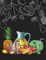 hand getrokken fruit en drankjes