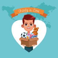 Kid donatie liefdadigheid cartoon