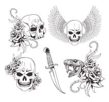 Tattoo old school tekening vector