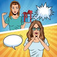 popart vrouwen verjaardag cartoon