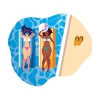 mooie meisjes tussen verschillende rassen met vlottermatras in water
