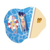 meisjes met badpak in badmeester en matras drijft in water