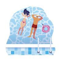 jong koppel met zwembroek drijvend in zwembad