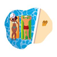 Sex tussen verschillendre rassen paar met float matras in water