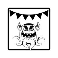 vierkant frame met monster en hoorns feest slingers
