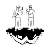 mannelijke bouwer aannemer werknemer met architect baas