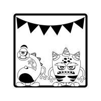 monochroom frame met monsters en slingers opknoping