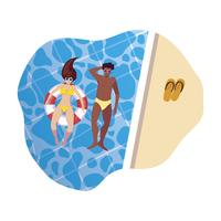 Sex tussen verschillendre rassen paar met zwempak en drijven in water
