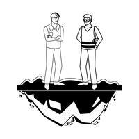 mannelijke bouwers constructeurs werknemers op het gazon