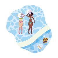 Sex tussen verschillendre rassen meisjes paar met zwemkleding drijvend in zwembad