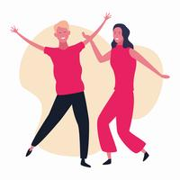 dansend paar avatar vector