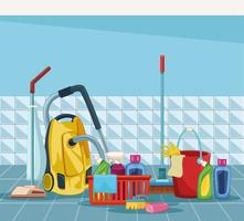 huishouden schoonmaak cartoon