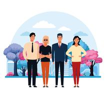 Mensen in het stadspark vector