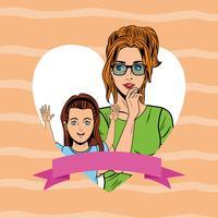 Popart moeder en dochter kaart cartoon