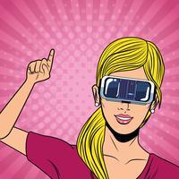 Vrouw met de technologie van virtuele werkelijkheidsglazen