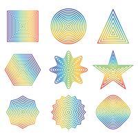 Vector illustratie van regenbooglijn in geometrisch vormelement dat op witte achtergrond wordt geïsoleerd