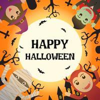 Gelukkig Halloween met Halloween-monsterkostuum op kerkhof en de volle maanachtergrond - Vectorillustratie vector